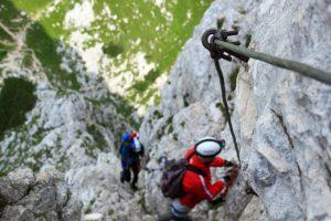 Birdseye View of adventurers taking part in Via Ferrata on mountain side